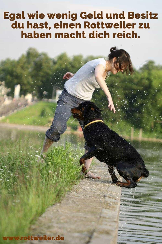 Junge Frau spielt mit Rottweiler Hund am Wasser
